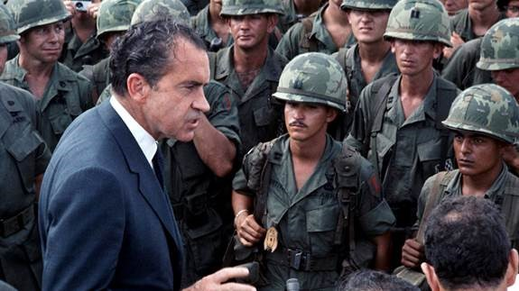 President Nixon and soldiers